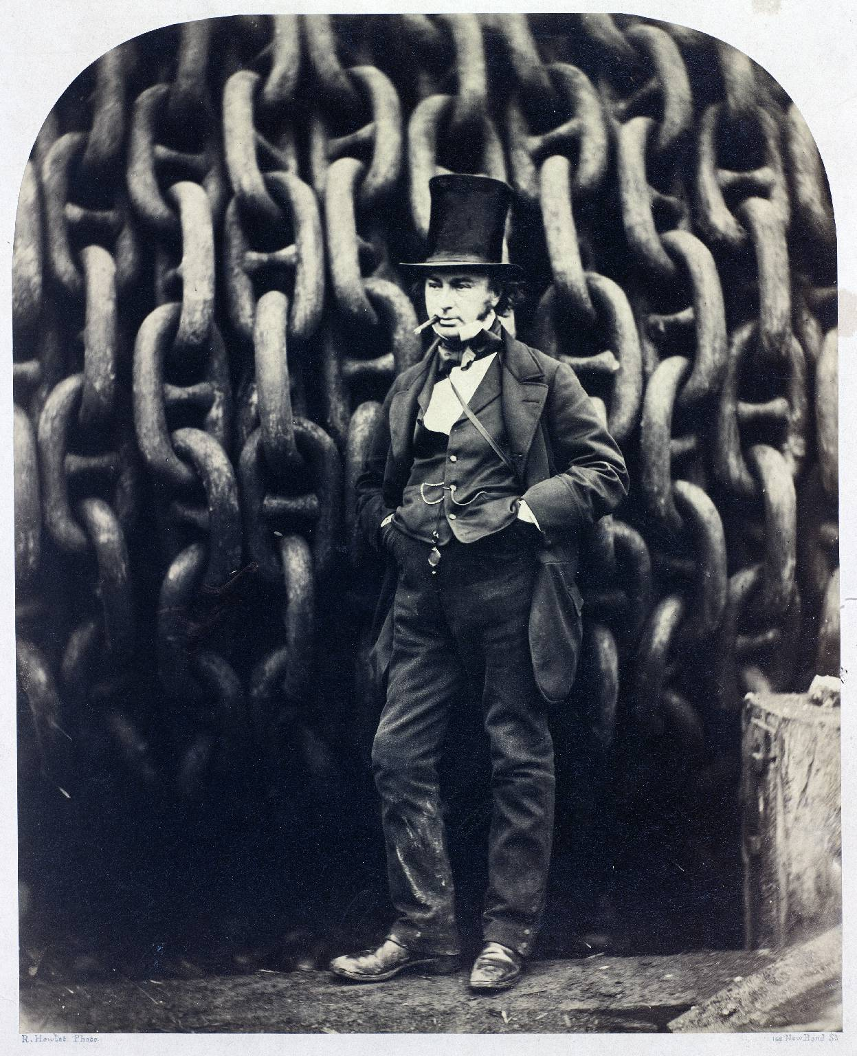 Photograph of Isambard Kingdom Brunel by the Launching Chains of SS Great Eastern