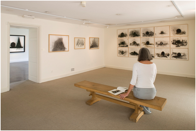 Abbot Hall Art Gallery. Visitor viewing artwork.