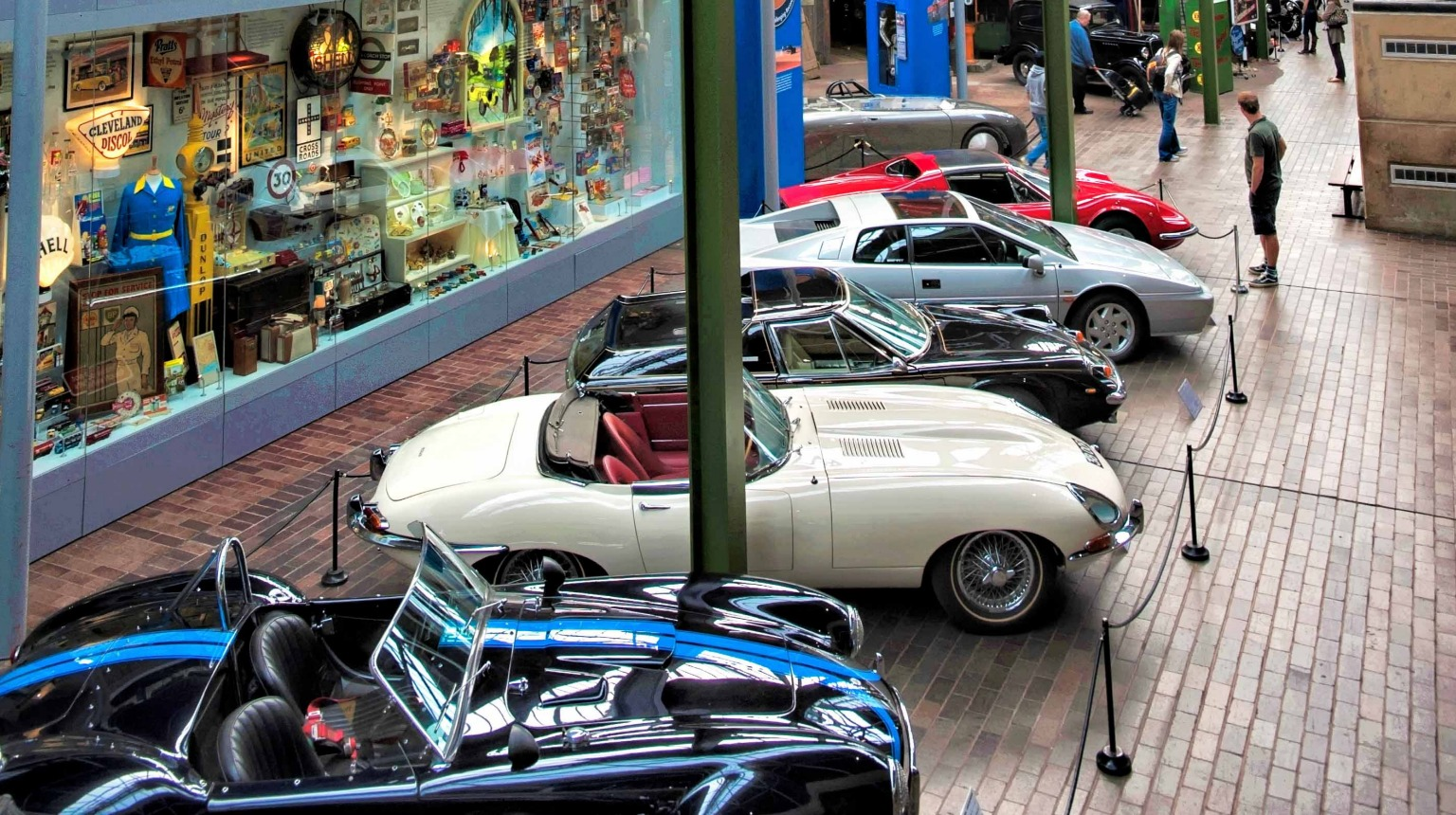 Visitors can enjoy a birds eye view of the collection as they take a high level ride through the National Motor Museum on the Monorail.