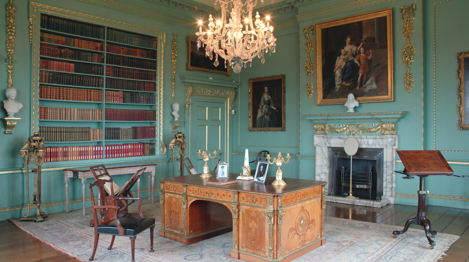 Mr Wood's library with Chippendale furniture, Temple Newsam, Leeds