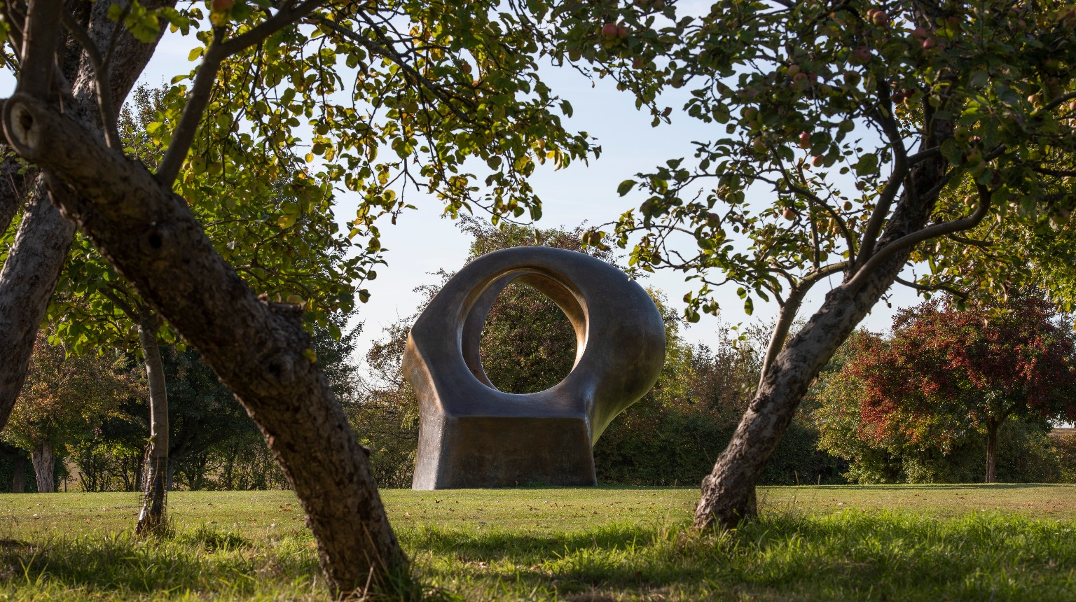 Henry Moore Studios and Gardens, Henry Moore, 'Double Oval' 1966. Art Map 2020